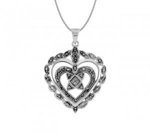Triple Heart Marcasite Pendant 25217