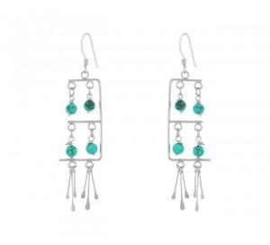 Turquoise Bead Dangle Earrings 24677