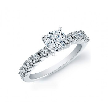 14k White Gold Classic Diamond Prong Semi Mount