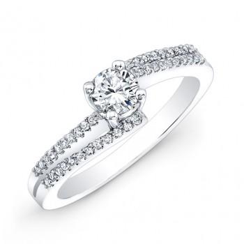 14k White Gold Modern Diamond Engagement Ring