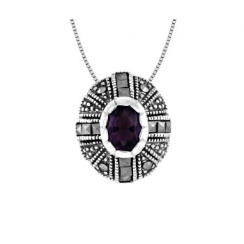 Amethyst and Marcasite Pendant 23957
