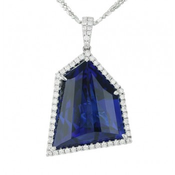 Asymmetrical Shape Tanzanite and Diamond Necklace Top 17222