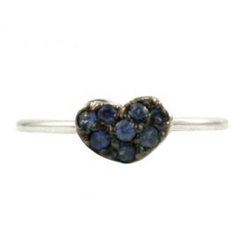 Barry Kronen Blue Sapphire Heart Ring S-1654B