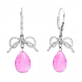 Barry Kronen Pink Topaz and Diamond Dangle Earrings S-2672WPT
