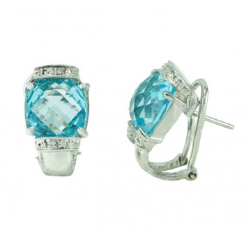 Cushion Cut Aquamarine Earrings 18865
