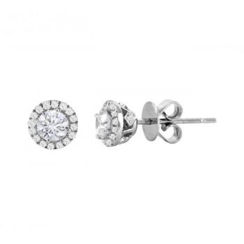 Diamond Halo Stud Earrings 23032