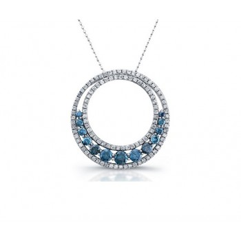 Double Circle Blue and White Diamond Pendant 25619