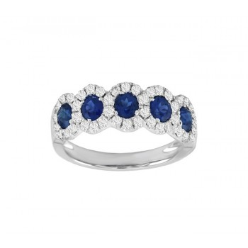 Five Stone Sapphire and Diamond Ring Top 24532