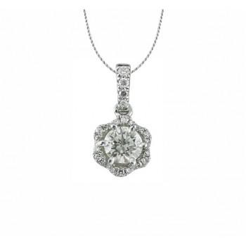 Floral Diamond Halo Pendant 27650
