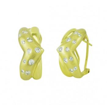 Flush Set Scattered Diamond Earrings 18839