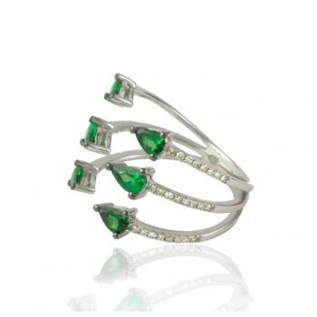 Green Garnet and Diamond Ring 25902