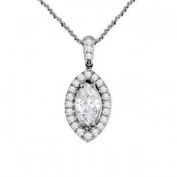 Marquise Diamond Halo Pendant 28077