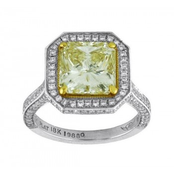 Martin Flyer Radiant Cut Fancy Yellow Diamond Ring Top 5212ACPLTZ-19880