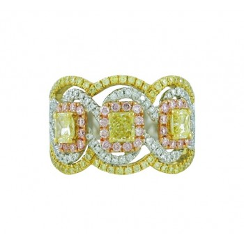 Natural Yellow, Pink and White Diamond Ring Top 23977