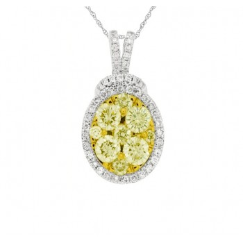 Oval Frame Yellow and White Diamond Pendant 27740
