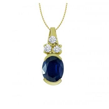 Oval Sapphire and Diamond Pendant 27528