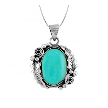 Oval Turquoise and Leaf Pendant 25229