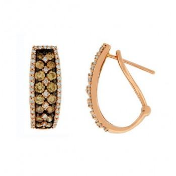 Pavé Set Chocolate and White Diamond Earrings 27751