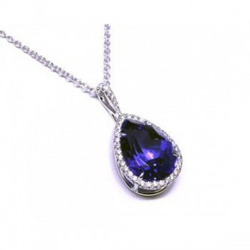 Pear Shape Tanzanite and Diamond Halo Pendant 28081