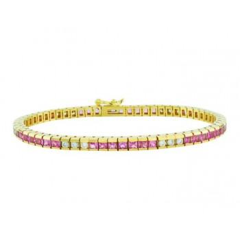 Pink Sapphire and Diamond Bracelet 15017