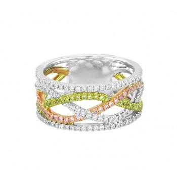 Pink, Yellow and White Diamond Infinity Ring 23974