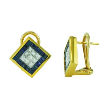 Princess Cut Sapphire and Diamond Earrings 10256