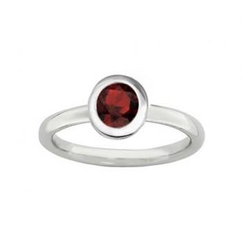 Round Garnet Solitaire Ring 23064