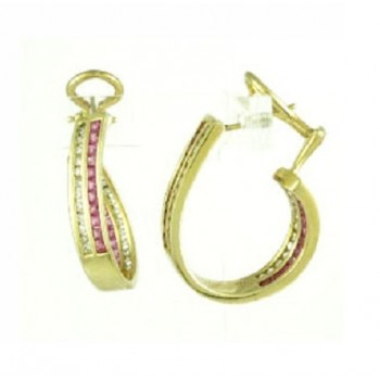 Ruby and Diamond In and Out Hoop Earrings 18124