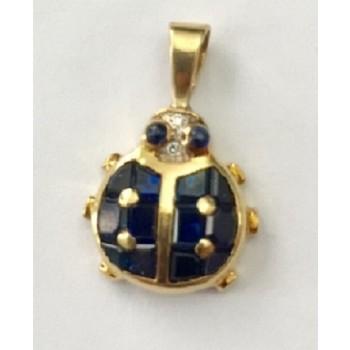 Sapphire and Diamond Ladybug Pendant 19517