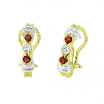 Semi Bezel Set Ruby and Diamond Earrings 18127