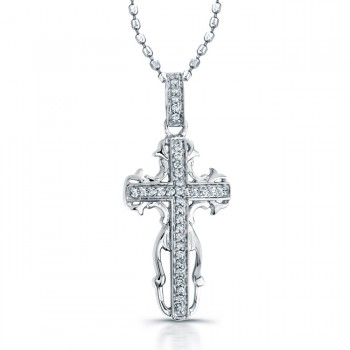 Sterling Silver Pave Cross Pendant
