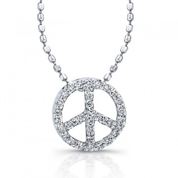 Sterling Silver Diamond Peace Pendant