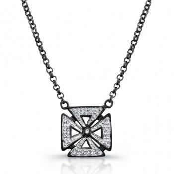 Black Sterling Silver Diamond Chopper Cross Necklace