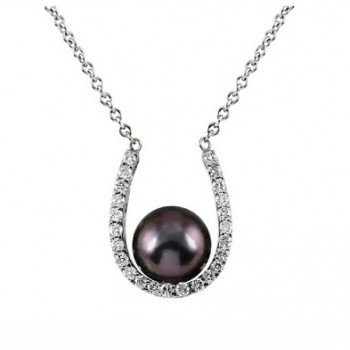 Tahitian Black Pearl and Diamond Horseshoe Necklace 21419