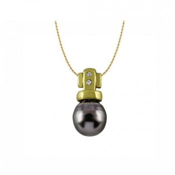 Tahitian Black Pearl and Diamond Pendant 18003