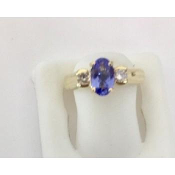 Tanzanite and Diamond Three Stone Ring 29140