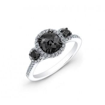 Three Stone Black and White Diamond Halo Ring Top 24186