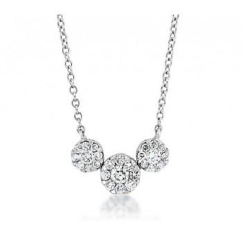Three Stone Diamond Cluster Necklace 29195