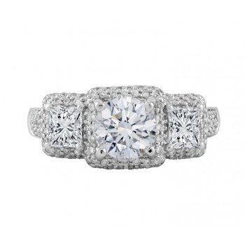 Three-Stone Diamond Halo Engagement Ring Top 24670