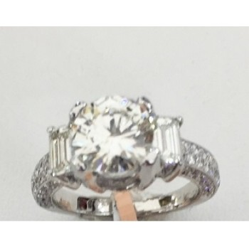 Three Stone Round and Baguette Diamond Ring 28857-28737