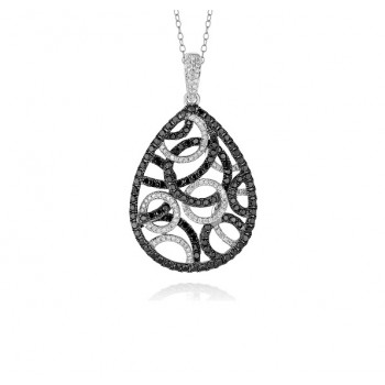 Web Design Black and White Diamond Pendant 29331