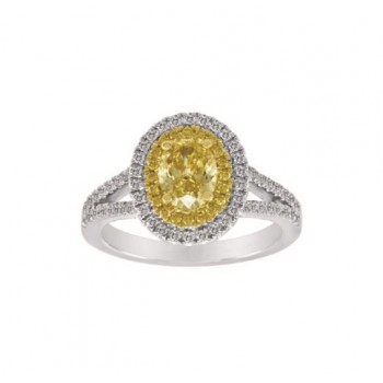 Yellow and White Diamond Halo Ring Top 23979