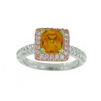 Yellow Sapphire and Diamond Halo Ring Top 14216-22783